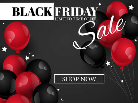 Vector Black Friday banner of realistic black and red color balloons with tiny stars on black background with Black Friday sale limited time offer and Shop Now text. For banner, flyer or template background for advertising and promotion.
