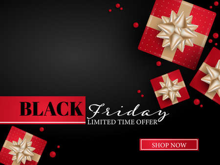 Vector Black Friday banner of realistic red color gift boxes with gold ribbons and tiny beads on black background with Black Friday limited time offer and Shop Now text. For banner, flyer or template background for advertising and promotion. 向量圖像