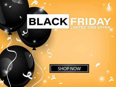 Vector Black Friday banner of realistic black color balloons on yellow background with Black Friday limited time offer and Shop Now text. For banner, flyer or template background for advertising and promotion.