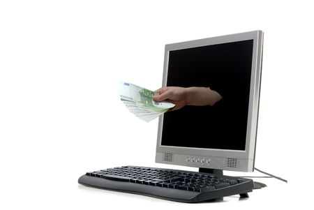 coming home: a hand coming out of a computer monitor offering money