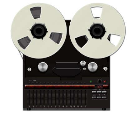 Retro analog tape recorder illustration