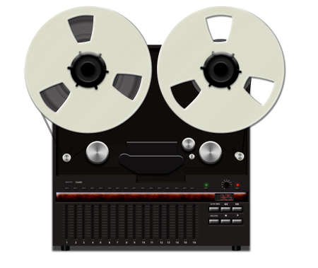 Retro analog tape recorder illustration