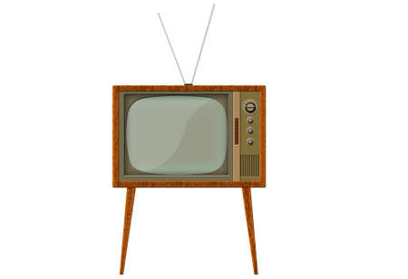 selector: Analog retro tv with wood frame Stock Photo
