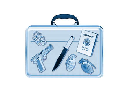 Xray scan detects weapon in criminals briefcase Stock Photo - 6504439