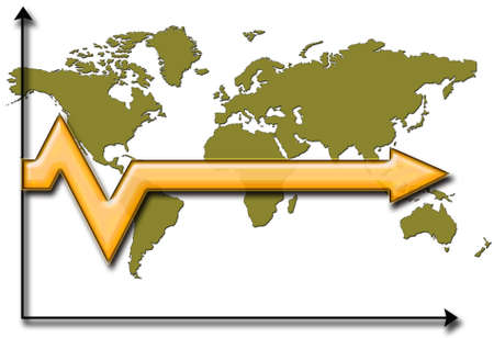 Arrow over world map showing stagnated future photo