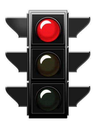 Traffic light with red light  Stock Photo