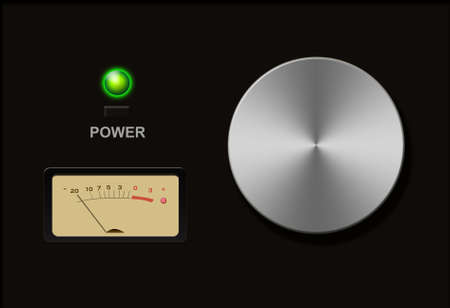 volume knob: Volume switch against black background Stock Photo