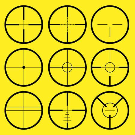 telescopic: Diferentes tipos de Cruz o ret�cula, utilizados para la alineaci�n precisa o para apuntar con armas de fuego  Vectores