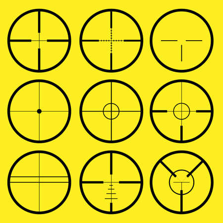 reticle: Different types of crosshair or reticle, used for precise alignment or for aiming with firearms