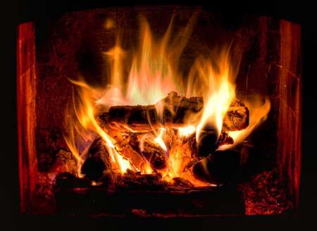 log fire: HDR foto di camino caldo e accogliente  Archivio Fotografico
