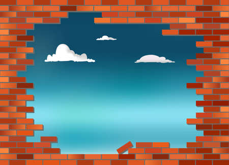 collapsed: Retro red brick wall vector, partly collapsed with blue sky in background