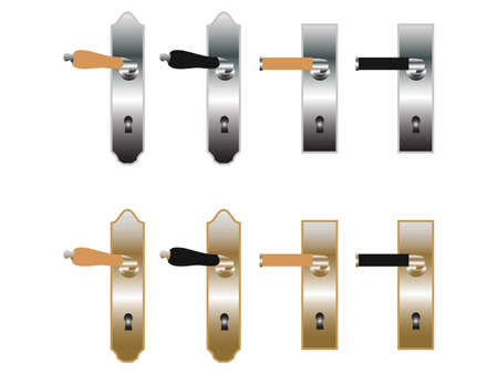Door handles in bronze and metal Illustration