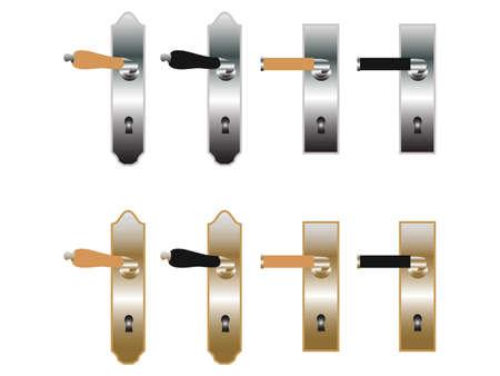 Door handles in bronze and metal Vettoriali