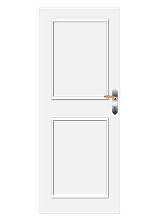 One white vector door with panel Stock Vector - 8370653