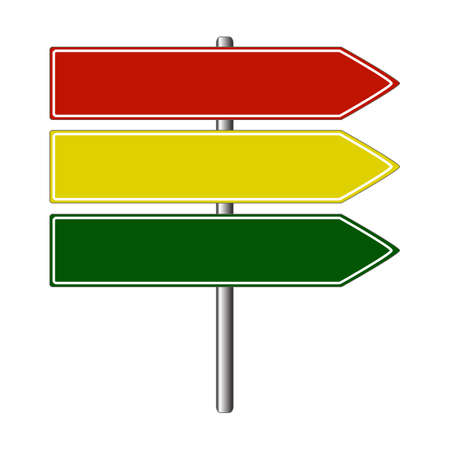 Put your text on the road signs, red, yellow and green arrow vector road signs Stock Vector - 8370648