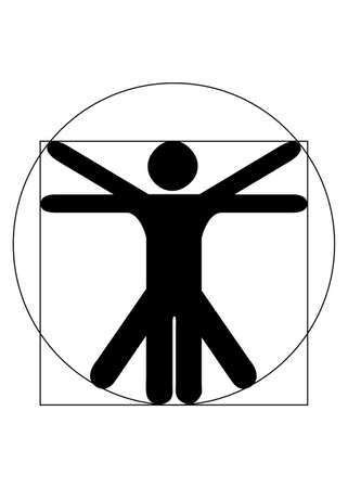 uomo vitruviano: Ornamental nero Vettoriali