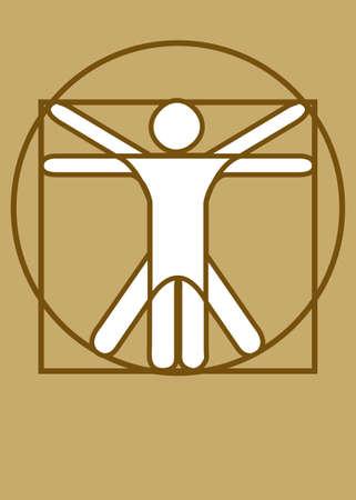 vitruvian man: Hombre de Vitruvio marr�n Vectores