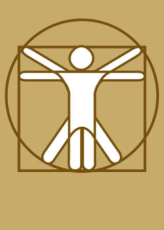 Vitruvian Man brown Vector