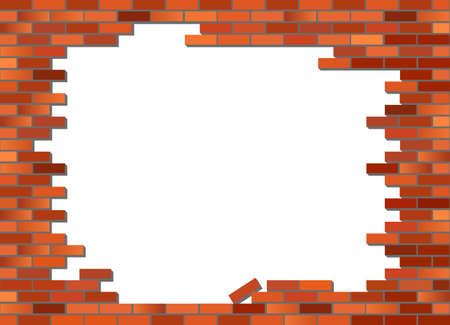 Poner texto o imagen detr�s de la pared de ladrillo. Vector, en parte se derrumb� de pared de ladrillo rojo retro Foto de archivo - 8591096