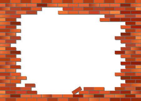 Put your text or picture behind the brick wall. Retro red brick wall Vector, partly collapsed Illustration