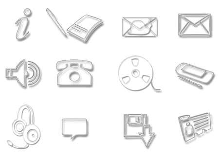 Glass icon set of communication symbols Stock Vector - 8591160