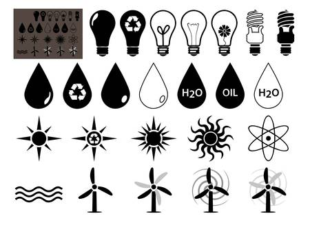 hydroelectric: Energy Vector icons set that symbolize energy not filled Illustration