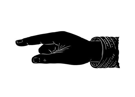 pointing finger pointing: Old vector symbol of hand with pointing finger in black and white