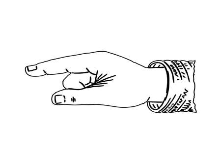 pointing finger: Old Vector symbol of hand with pointing finger in black and white