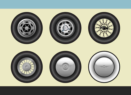 Vector set of retro car wheels Stock Vector - 8591164