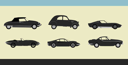 Vector of old-fashioned retro cars Vector