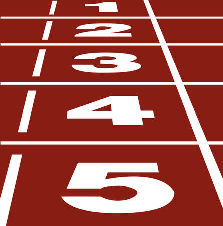 Perspective Vector of start or finish position on running track 矢量图像