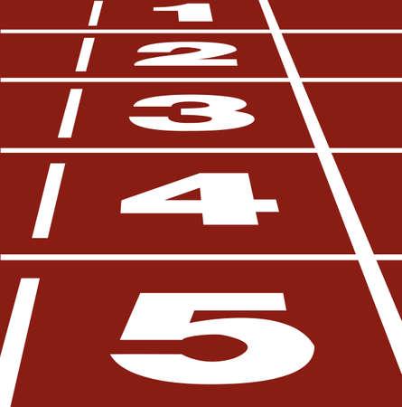Vector de perspectiva de comienzo o fin de posición sobre la pista de atletismo