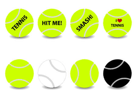 fussy: Fuzzy tennis balls, Vector set with different themes