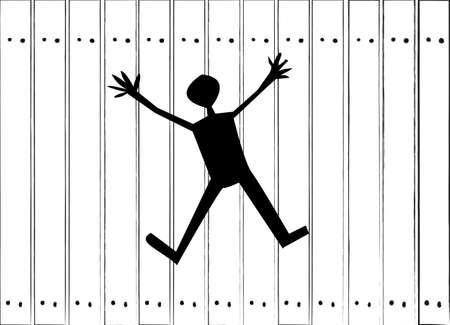 break in: A break in the wall in the form of a human figure