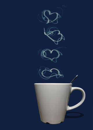 Cup of coffee or tea with steam in shape of hearts photo
