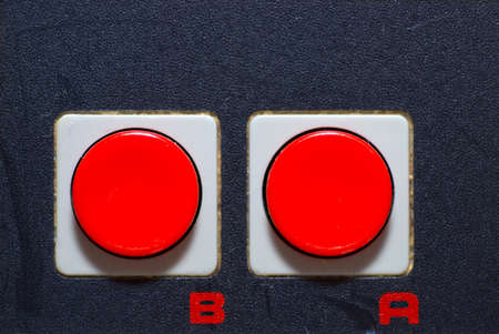 Close-up of classic retro hand control with red buttons Stock Photo - 8695668