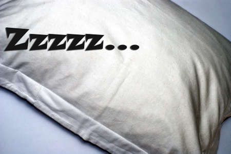 Pillow with snoring signs, photo with dreamy effect filter Stock Photo