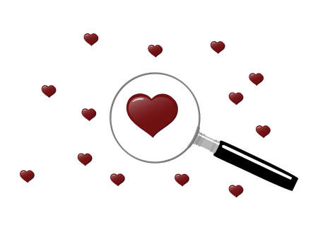 Magnifying glass with hearts, symbolizing the search for love   Stock Vector - 8695630