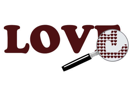 Magnifying glass with hearts, symbolizing the search for true love   Stock Vector - 8695627