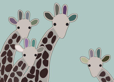 Giraffe family looking surprised, with green background