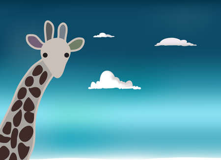 camelopard: Lonely giraffe looking surprised, with sky in background Illustration