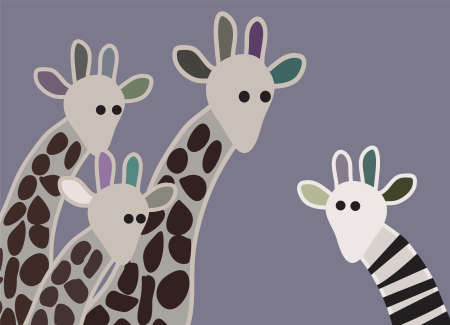 camelopard: Giraffe family looking surprised, with giraffe in different marking Illustration