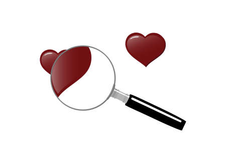 Magnifying glass with hearts, symbolizing the search for love Stock Vector - 8695623