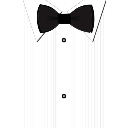 воротник: Black bow-tie and a classic white shirt