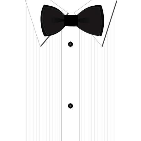 noeud papillon: Papillon noir et une chemise blanche classique Illustration