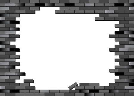 pared rota: Poner texto o imagen detr�s de la pared de ladrillo. Vector de pared de ladrillo retro, colapsado parcialmente