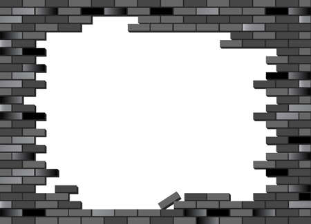 brickwall: Put your text or picture behind the brick wall. Retro brick wall vector, partly collapsed