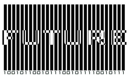 Text FUTURE hidden in futuristic binary code Vector