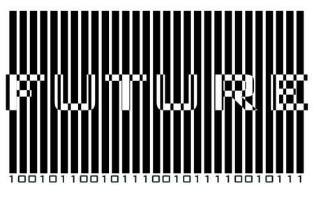 Text FUTURE hidden in futuristic binary code Vector