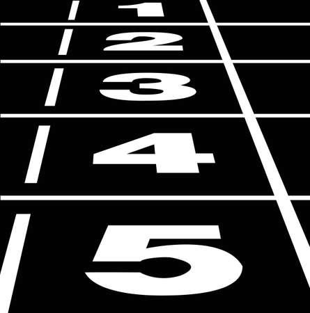 Vector de comienzo o fin de posición en una pista de atletismo negra